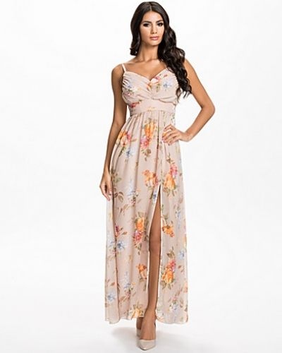 Elise Ryan Pleated Front Chiffon Maxi Dress