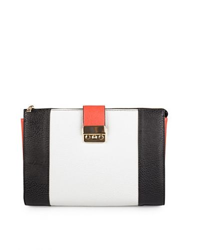 Till tjejer från Miss Selfridge, en flerfärgad kuvertväska.
