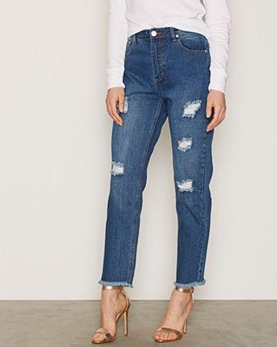 Blå straight leg jeans från Glamorous till dam.