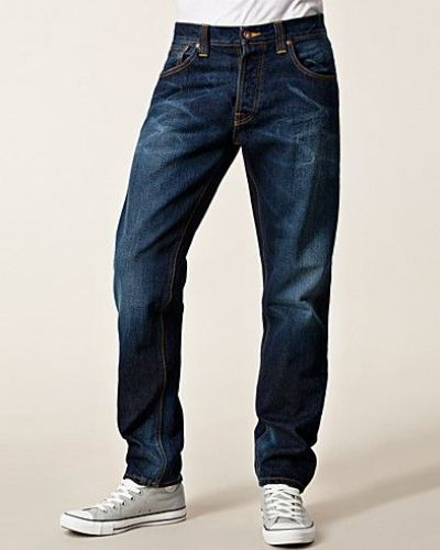 Blå straight leg jeans från Nudie Jeans till herr.