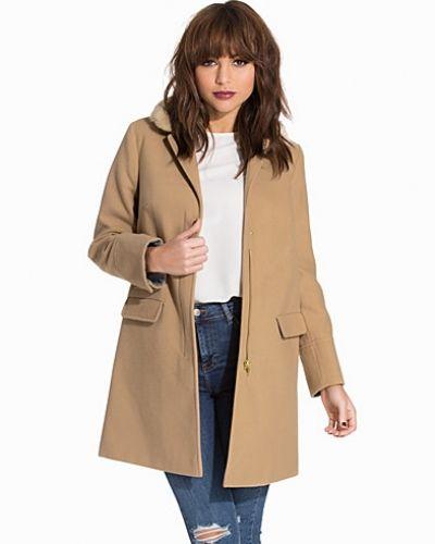 Topshop Slim Fit Faux Fur Collar Coat
