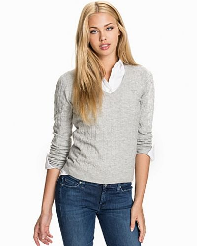 Gant Stretch Lambswool Cable V-Neck