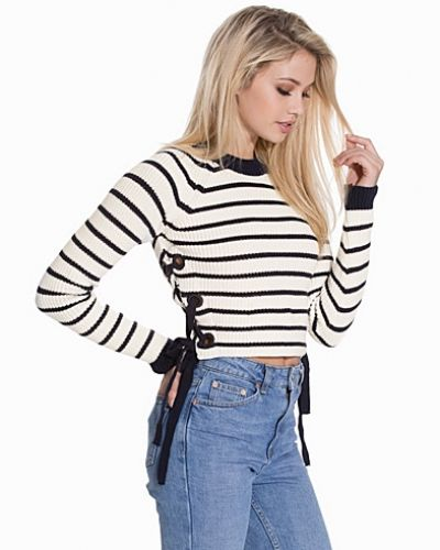 Topshop Stripe Eyelet Tie Side Jumper