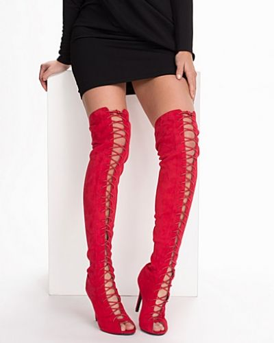 Högklackade Thigh High Lace Up Boot från Nly Shoes