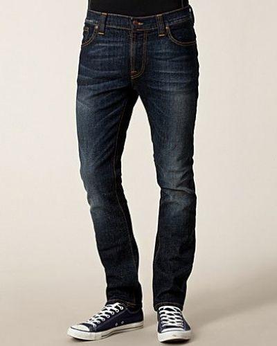 Thin Finn Org Black Indigo Nudie Jeans straight leg jeans till herr.
