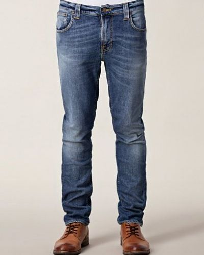 Thin Finn Org Light Navy Nudie Jeans slim fit jeans till herr.