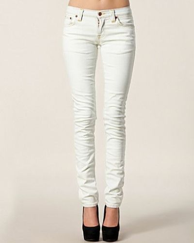 Tight Long John Bleach White Nudie Jeans slim fit jeans till dam.