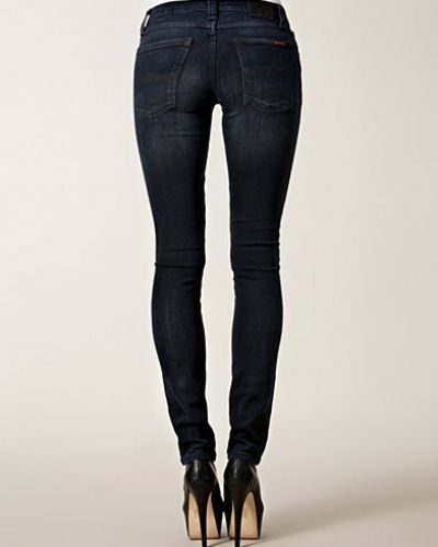 Tight Long John Organic Black Grey Nudie Jeans slim fit jeans till dam.