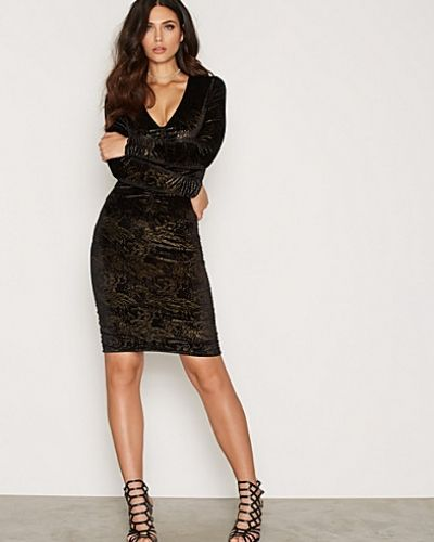 New Look Velvet Gold Foil Ruched Front Bodycon Dress