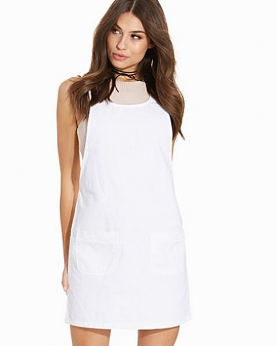 New Look White Denim Double Pocket Pinafore Dress
