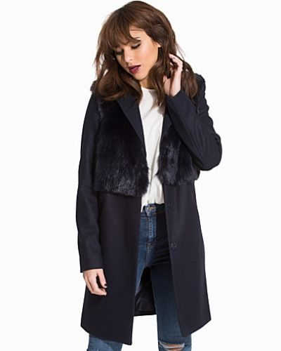 Topshop Wool Blend Faux Fur Hybrid Coat